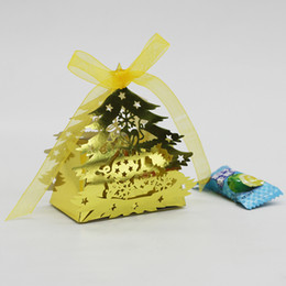 Wholesale Tree Paper Laser Cut - Christmas Tree Gift Boxes Laser Cut Shining Paper Christmas Tree Candy Box Ribbon Bowknot Decoration Party Gift Boxes Gold Table Decortaions
