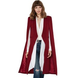 Wholesale Women Casual Suits Blazers - 2017 Women Casual Open Front Blazer Suits with Pocket Cape Trench Coat Duster Coat Longline Cloak Poncho Coat