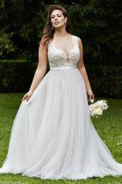 Wholesale Sexy Wedding Desses - New Fashion plus size wedding dresse Sleeveless Modern Beads Desses Floor Length Back Button Bodice Plus Size Wedding Dresses Chapel Beading