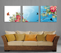 Wholesale Peony Flowers Pictures - Beautiful Peony Flowers Fine Floral Painting Giclee Print On Canvas Home Decor Wall Art Set30209