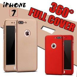 Wholesale Iphone Tpu Pc - 360 Degree Coverage Full Body Protection Ultra-thin Hard PC Full Cover Case With Tempered Glass Screen Protector For iPhone 7 Plus 6 6S 5S 5