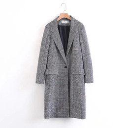 Wholesale Girls Quality Wool Coat - Women Trench Coat High Quality Women Striped Print Long Coats Female Plus Size Outwear Lady Girl Maxi Office Coat 2017 Women Clothing W159