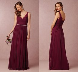 Wholesale wedding dresses pick up style - Cheap Bridesmaid Dresses Under $100 2016 A Line V Neck Country Style Wedding Guest Maid of Honor Gowns Chiffon Formal Party Dresses ba2976