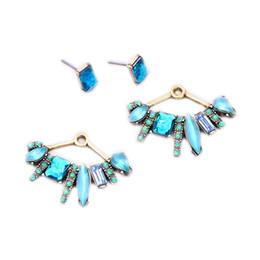 Wholesale Joker Designs Fashion - 3Pairs Lot Wholesale Fashion Brand Alloy Women Jewelry Water Drop Design Drop Earrings Lady's Elegant Blue Joker Stud Earrings