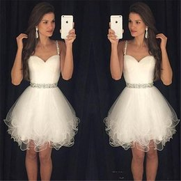 Wholesale Champagne Sequin Sexy Mini Dress - Cheap Little White Ivory Homecoming Dresses 2016 Plus Size Spaghetti Short Prom Party Gowns Beaded Sash Juniors Bridesmaid Cocktail Wear