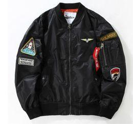 Wholesale Air Force Military Uniforms - High quality 2016 Flight Pilot Jacket Bomber Ma1 Jackets For Men Jackets Nasa Air Force Jackets Embroidery Military Coats Baseball uniform