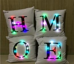 Wholesale Twill Letters Wholesale - Letter Alphabet Pillow Case LED Light Pillows Cushion Soft CarHome Furnishing Decorative ArticlesLight Up Pillowcase Hot Sale 10ht J R