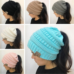Wholesale Girls Knitting Cap Beanie - 2018 Newest Women CC Beanies Winter Woolen Caps Girl Ponytail Hats Women Winter Warm Knitted Crochet Skull Beanie 9 Colors