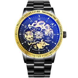 Wholesale Steampunk Watches Men - 2017 New Black Men Skeleton Stainless Steel Bracelet Antique Steampunk Automatic Mechanical Skeleton Men's Casual Watches