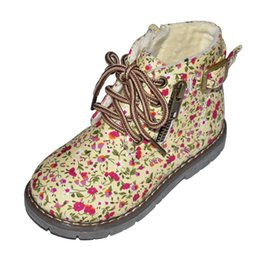 Wholesale Martin Boots Flowers - girls boots cotton floral boots flower chaussure ankle boot children shoes zapatos nina martin boots with buckle zip closure boot