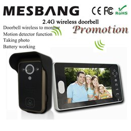 Wholesale Install Wireless Camera - 2017 hot new black color 2.4G wireless video doorbell wireless door video intercom phone 7 inch monitor easy to install