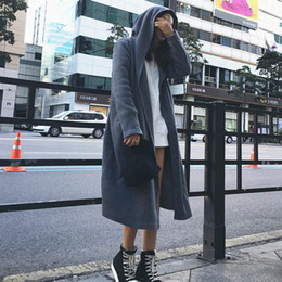 Wholesale Trench Coat Women Fall - Wholesale-2016 Korean Version of the New Fall Fashion European Style Loose Hooded Knit Cardigan Trench Coat Female L80