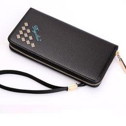 Wholesale Large Wallet Clutch Organizer - Men's Long Type Luxury Hand Bag Zipper Wallet Male Fashion Business Tide Clutch Multi Card Position Large Capacity Wallets
