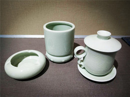 Wholesale Ceramic Glazes Free Shipping - Free shipping ru yao tea set ceramic tureen teapot ru kiln porcelain tea cup china collectible handmade travel set