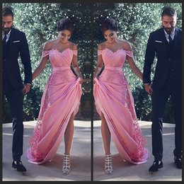 2019 marco de rubor para el vestido de novia Blush Off The Houlder Vestidos de dama de honor largos con apliques de encaje Sash A Line Wedding Guest Dress Maid of Honor Cheap Vestidos de cóctel marco de rubor para el vestido de novia baratos