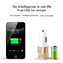 Wholesale Mini Volt Battery - Best Dual USB 2 Port Mini Car Phone Battery Chargers Aluminium Alloy Universal Adapter 12 Volt 1 ~ 2 Amp for Apple iPhone iPad