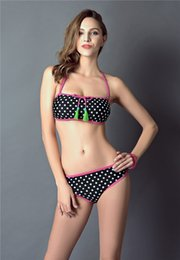 Wholesale Girls Swim Polka Dot - Summer Womens Bikinis Set Dot Push Up Sexy Swimsuit for Girl Halter Bikinis Low Waist Brand Swimwear String Ties Bating Suit Swim wholesale