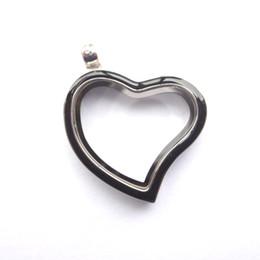 Wholesale Locket Bohemian Enamel - silver 30MM curved heart memory locket with black enamel , Material: Zinc Alloy , Color: Sliver, MOQ:10 pcs