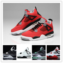 Wholesale Green Suede Lace Up - 2016 Wholesale top quality Air Retro 4s white cement Bred Fire red retro 4 Men Women Basketball Shoes sneakers sports SIZE 36-47
