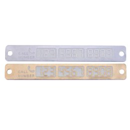 Wholesale Parking Phone Number - Car Temporary Telephone Number Parking Card 15*2cm Silver Gold Notification Night Luminous Sucker Plate Phone Number Card