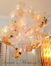 Wholesale Birthday Room Decorations - 12-inch transparent gold sequins confetti balloon 2017 New Year's Party balloons wedding room decoration balloon wholesale