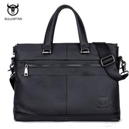 2019 переносная сумка для ноутбука Wholesale- BULL CAPTAIN MEN's LEATHER BRIEFCASE FOR BUSINESS fashion  soft handle tote shoulder bag 15 inch laptop bag #040 скидка переносная сумка для ноутбука