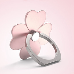 Wholesale Clover Iphone - Four Leaf Clover Mobile Holder Finger Ring Cell Phone Holder Mobile Stand For iPhone samsung htc sony lg xiaomi tablet