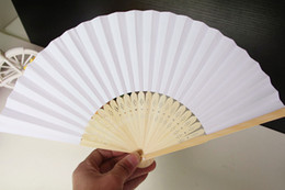 Wholesale Antique Chinese Fan Paper - Chinese Paper Folding Fan Handheld Fan white color Children's Painting painted fan Kindergarten creative diy handmade material paper fans