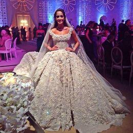 2019 vestidos de novia atractiva Vestidos de novia asombrosos del vestido de bola 2017 espumoso del cuello cuadrado con el tren de la corte del Rhinestones Vestido árabe De Novia Vestidos de novia con encanto vestidos de novia atractiva baratos