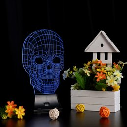 Wholesale Innovative Lights - LIXADA 3D LED Lamp Light USB Skull Colorful Night Light for Wedding Deco Innovative Christmas Gift Present