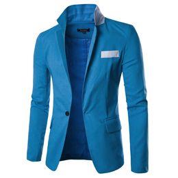 Wholesale Jacket Model Blazer - 2016 cotton and linen thin models hit color one button casual men's suits man Suit jacket