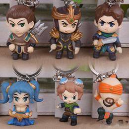 Wholesale Lol Key Chains - LOL League of Legends KeyChains Lee Sin Ezreal Sona Jarvan Xin Zhao Garen Key Ring Holder Chain