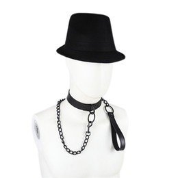Wholesale Men Adult Novelty Toys - Leather Rivets Adult Slave Collar Leash Bondage Sex Neck Ring for Women Men Adults Game Toys Novelty Sex Products for SM Games