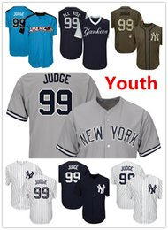 los niños de béisbol Rebajas Youth Kids Child Yankees 99 Aaron Judge Baseball Jersey Azul marino Blanco Gris Gris 2017 2017 All Star Players Weekend Green Salute Team Logo