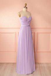 Wholesale Cheap Light Up T Shirts - Light Purple Bridesmaid Dresses Cheap Sweetheart Sleeveless Pleats Chiffon Long Wedding Guest Dress Lace-up Zipper Back Cheap