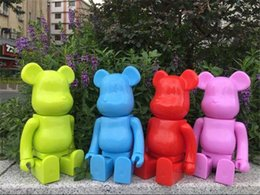 Wholesale Action Figure Bags - Demishop 400% Bearbrick Bear@brick DIY Paint 28cm PVC Action Figure Pure Painted Color With Opp Bag