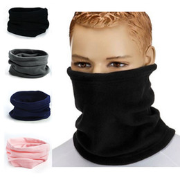 Wholesale Wholesale Fleece Hats Scarves - Wholesale-1PC 3in1 Winter Unisex Women Men Sports Thermal Fleece Scarf Snood Neck Warmer Face Mask Beanie Hats