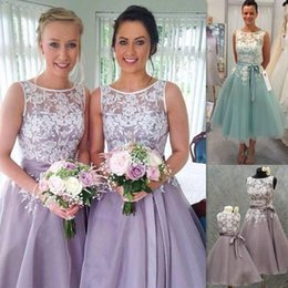 Wholesale Organza Pick Up Wedding Gowns - 2016 New Short Tea Length Bridesmaid Dresses Lace Appliques Sheer Bateau Neck Lavender Purple Blue Organza Wedding Party Gowns With Sash