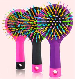 Wholesale Static Balls - Wholesale-Magic rainbow hair comb anti-static magic cushion Round Hair Brushes Comb Salon make up Ball Styling tools Hairbrush Back mirror