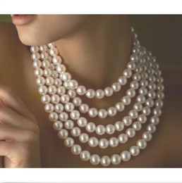 """Wholesale Golden Akoya Pearls - 100"""" 9-10MM AKOYA WHITE AKOYA NATURAL PEARL NECKLACE 14K YELLOW GOLDEN CLASP"""