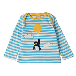 Wholesale Penguin Shirts - Lovely Penguin T shirt for Kids Striped Tops Long sleeve Children Boutique clothing Wholesale 2017 Fall Autumn 18-24month 2T 3T 4T 5T 6T