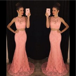 Wholesale Two Piece Evening Gowns Online - 2017 New Vogue Pink Full Lace Mermaid Evening Dresses Two Piece Formal Slim Special Occasion Party Gowns Custom Online