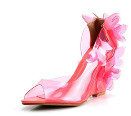 Wholesale Kvoll Dress Shoes - Butterfly transparent resin wedges shoes sexy female Kvoll fish mouth glass slipper high heel shoes