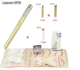 Wholesale Needles For Tattooing - Wholesale-Eyebrow kit permanent makeup machine tattoo eyebrow tattoo microblading pen kits with 30pcs needle blade for learner use