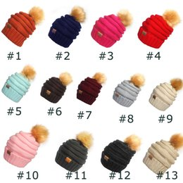 Wholesale Trendy Baseball Hats - Unisex CC Trendy Hats Winter Knitted Fur Poms Beanie Label Fedora Luxury Cable Slouchy Skull Caps Fashion Leisure Beanie Outdoor Hats F898-1