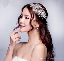 Wholesale Tiaras Bridal Korea - Handmade Beading Luxury Hair Accessories Korea Shining Bridal Crystal Veil Faux Pearls Tiara Crown Headband Hair Accessories for party