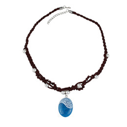 Blue Costume Jewelry Princess Necklace Charm Crystal Choker Pendant Necklace Cosplay Party Gifts Movie Jewelry Gifts Retail Pack PX-S59 nereden