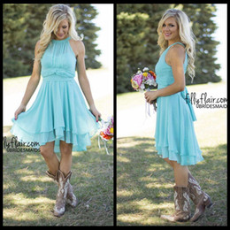 Wholesale Hi Low Style Bridesmaid Dresses - 2016 Beach Country Style Turquoise High Low Bridesmaid Dresses Crew Neck Ruffled Chiffon Mini Dress Beach Wedding Party Dresses