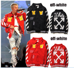 Wholesale Winter Hoodies Fleece Cotton - OFF WHITE 2017 Men Hoodie Sweatshirt Brand Clothes Stripes Print Hip Hop Pullover Sweater Autumn Winter Fleece Hood Jacket sup Coat YBG0407