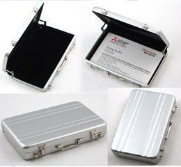 Wholesale Type Briefcases - Mini Aluminium Cool Metal briefcase suitcase Password Type Business Cardcase Bank ID Card Holder Name Card Case box DHL FEDEX FREE SHIPPING
